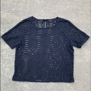 Ann Taylor Large Navy Blue Lace Short Sleeve Top